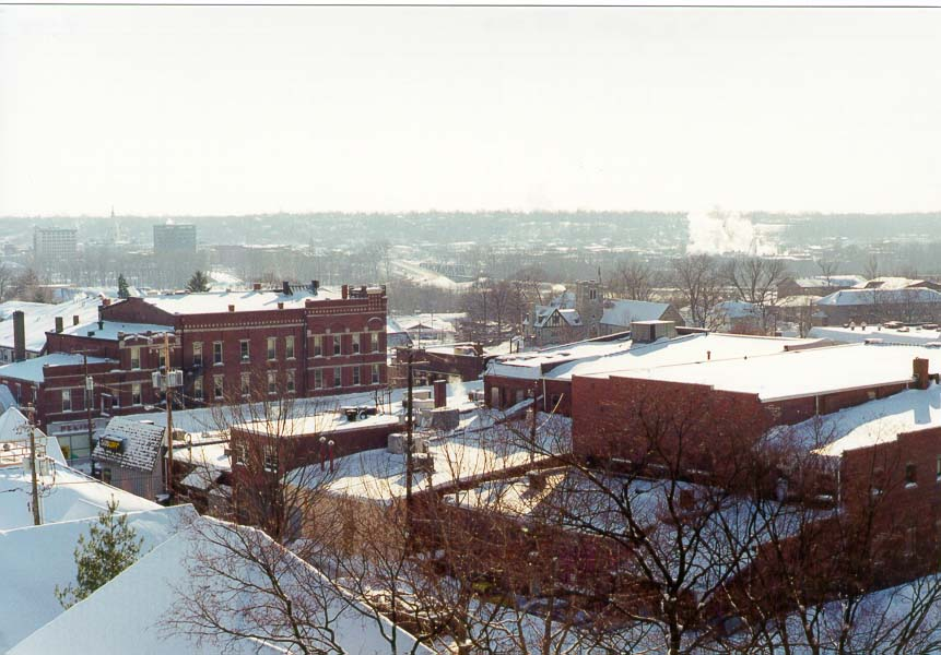 View of State Street from a top level of a parking garage. West Lafayette IN