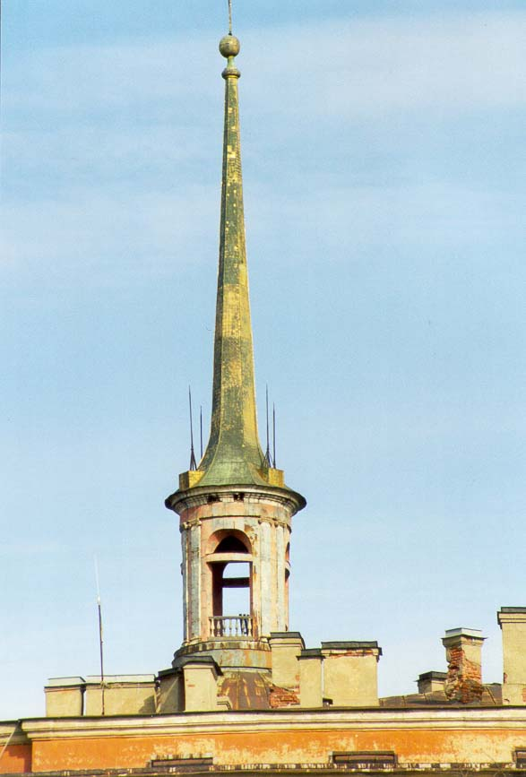 A spire of Mikhailovsky Castle at Sadovaya St.. St.Petersburg, Russia