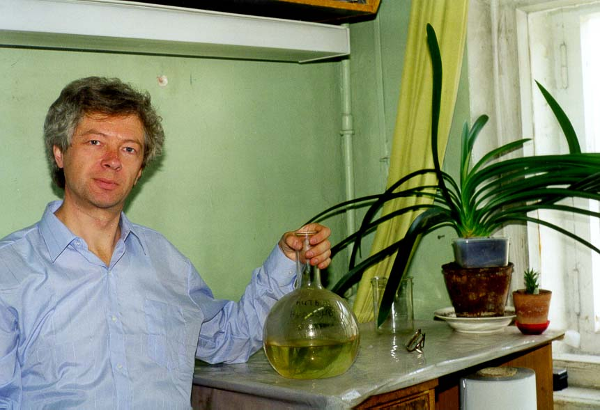 A. V. Sergeev in his lab of the former 16th...Island, St.Petersburg, Russia
