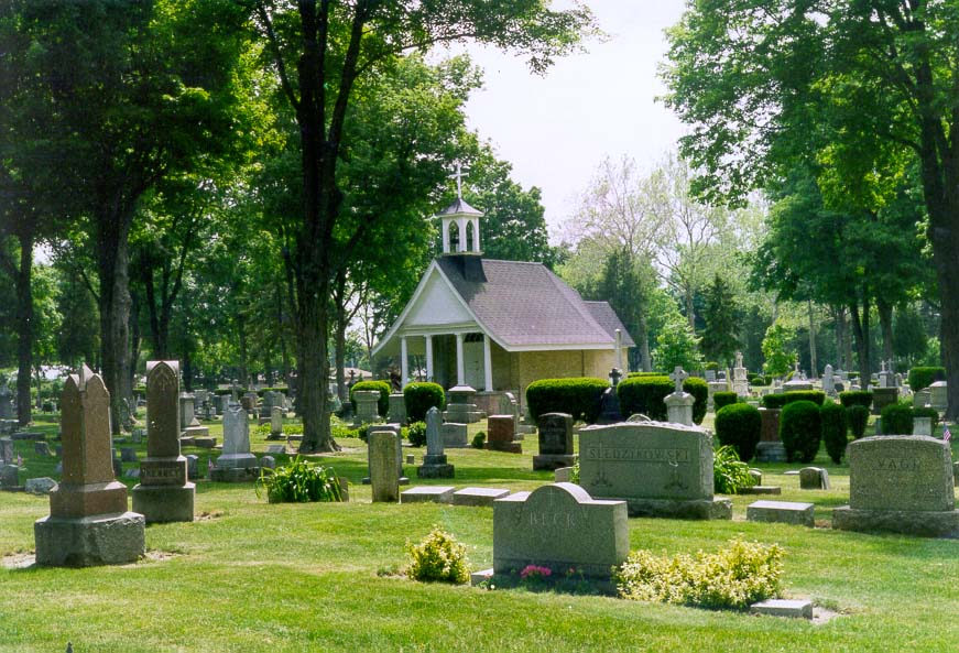 Catholic cemetery at the University of Notre Dame. South Bend, Indiana