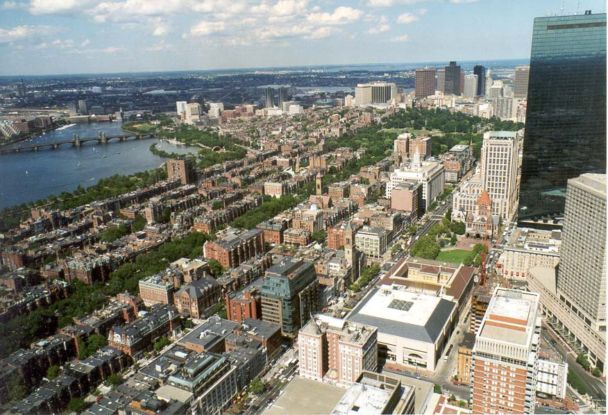 View of the area around Commonwealth Ave. and...Tower, Boston. Massachusetts