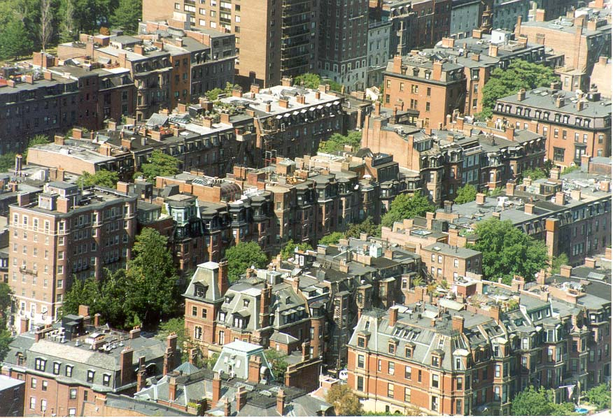 View of buildings of Back Bay from an observatory...Tower, Boston. Massachusetts