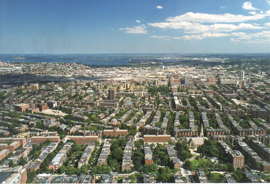 View of South End from an observatory of Prudential Tower, Boston. Massachusetts