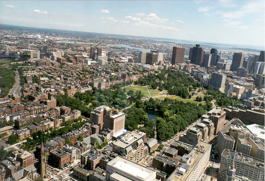 View of the city surrounding Boston Common from Hancock Tower in Boston. Massachusetts