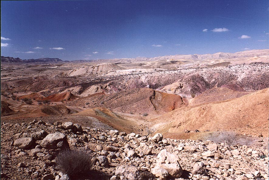 Multicolor hills in Big Crater (Makhtesh Gadol) in Negev Desert. The Middle East