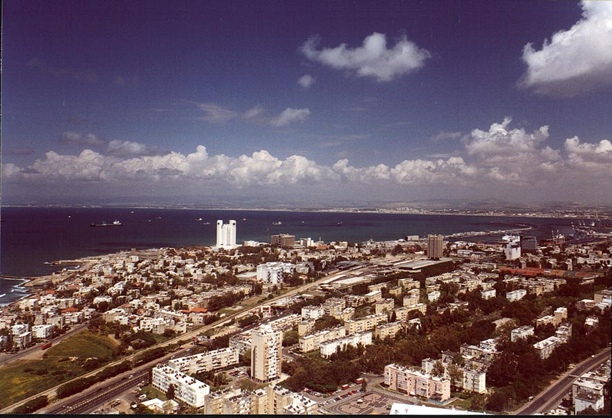 Haifa and Mediterranean Sea from Mount Carmel. The Middle East