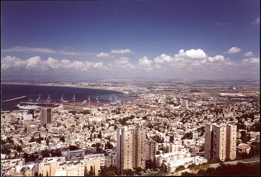 Haifa and the harbor from Mount Carmel. The Middle East