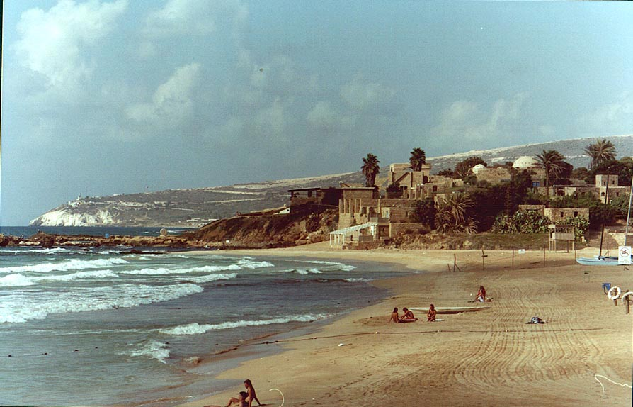 Mediterranean beach closed for public, near ruins of Achzib. The Middle East