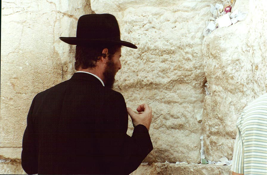A Jew at Western wall in Old City of Jerusalem. The Middle East