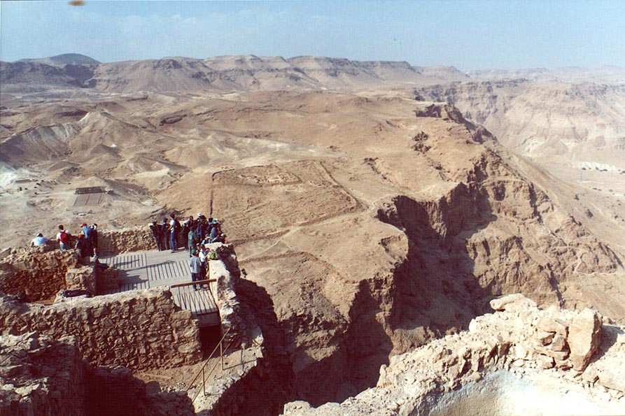 View from north-west corner of Masada, with...camp at background. The Middle East