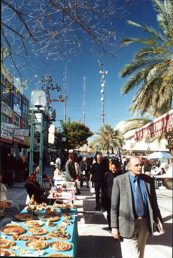 Flea market on K.K.L. pedestrian mall in downtown Beer-Sheva at Friday. The Middle East
