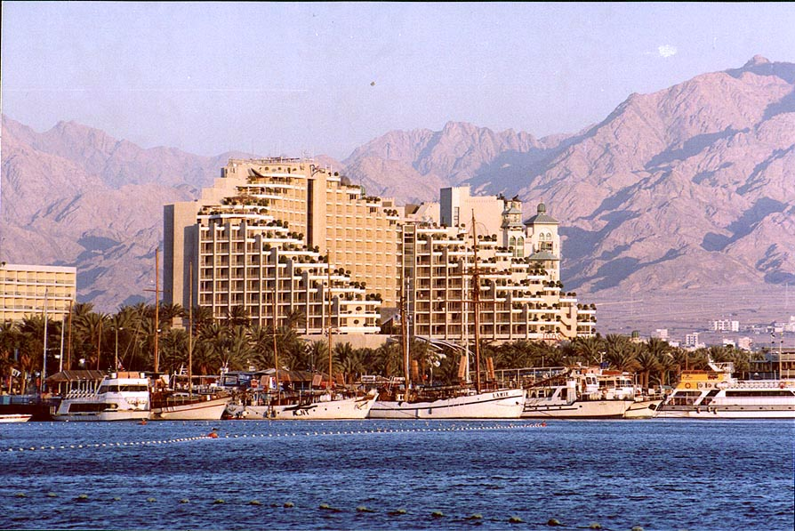Eilat hotels and a port at evening. The Middle East