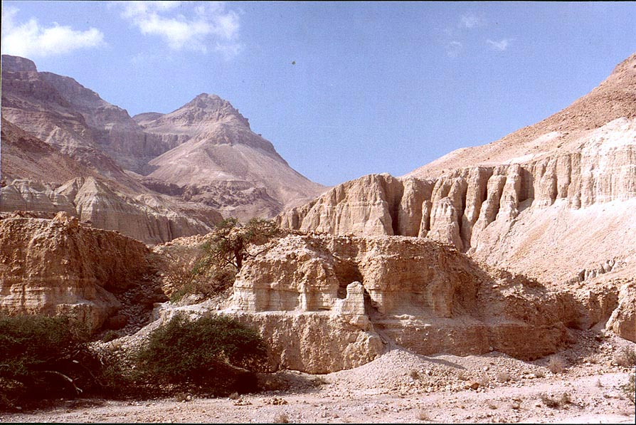 Entrance to Nahal Tseelim River Gorge, 2 miles north from Masada. The Middle East