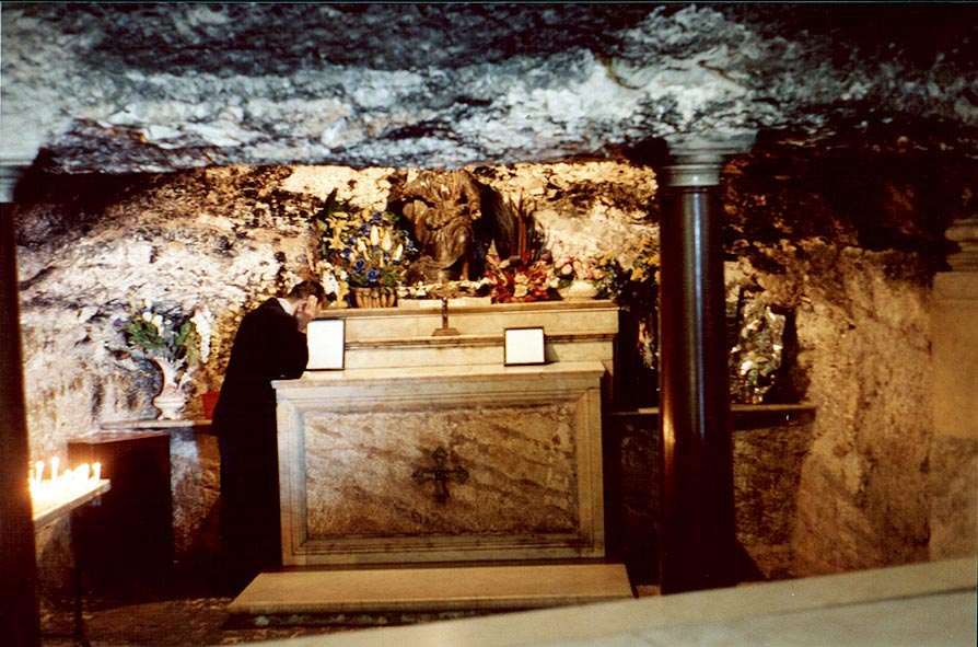 A cave of Elijah and Elisha in Carmelite Monastery. Haifa, the Middle East