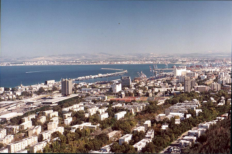 View of Haifa and a bay from Mount Carmel. The Middle East