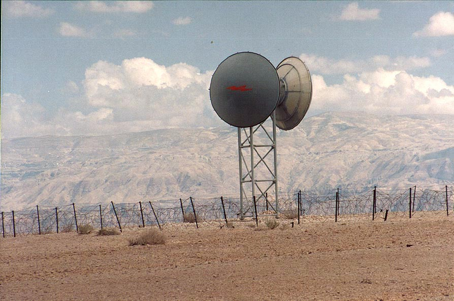 Israeli radiolocation station on a desert plateau...Jordan on background. The Middle East