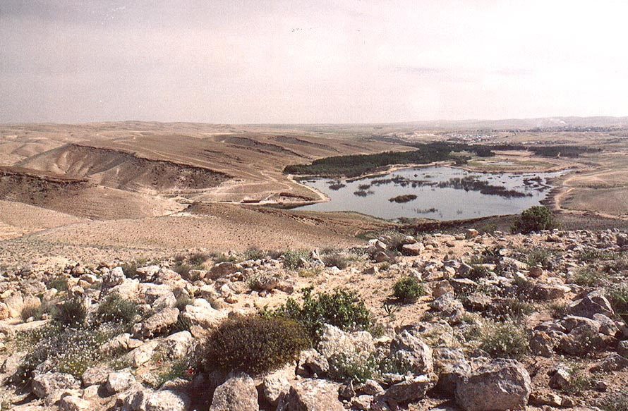 View of a heavily polluted Yeroham reservoir from a mountain ridge. The Middle East