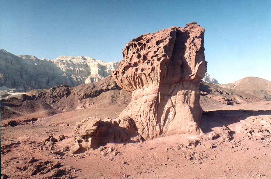 Imperfect sandstone mushroom north-west from Timna Mountains. The Middle East