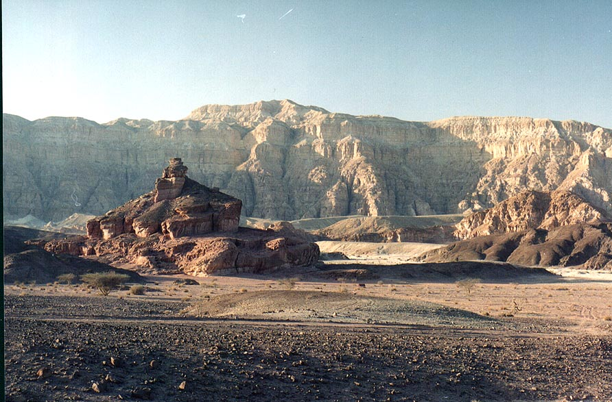 View of Spiral hill and Timna Cliffs from...through Timna Park. The Middle East