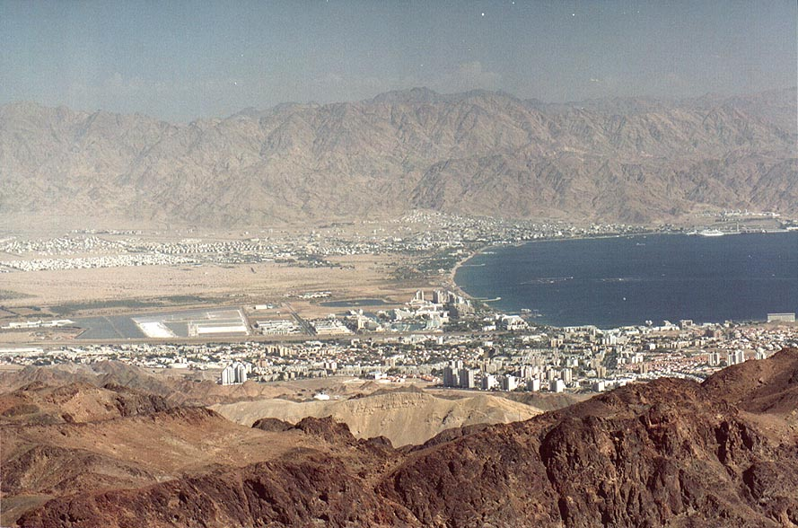 Eilat and Aqaba, view to south-east from Mount...north-west from Eilat. The Middle East