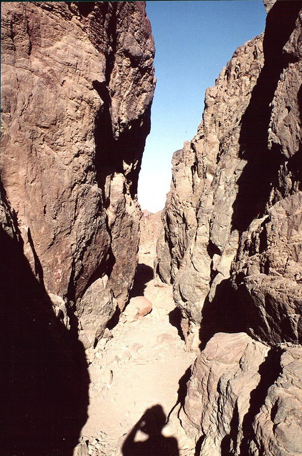 Narrow part of the canyon of Mapalim creek, 'wadi...north-west from Eilat. The Middle East