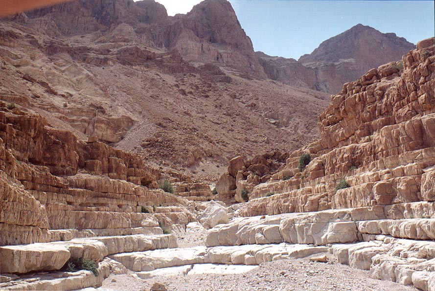 Amphitheatre-like part at the beginning of the...Nahal David. Ein Gedi, the Middle East