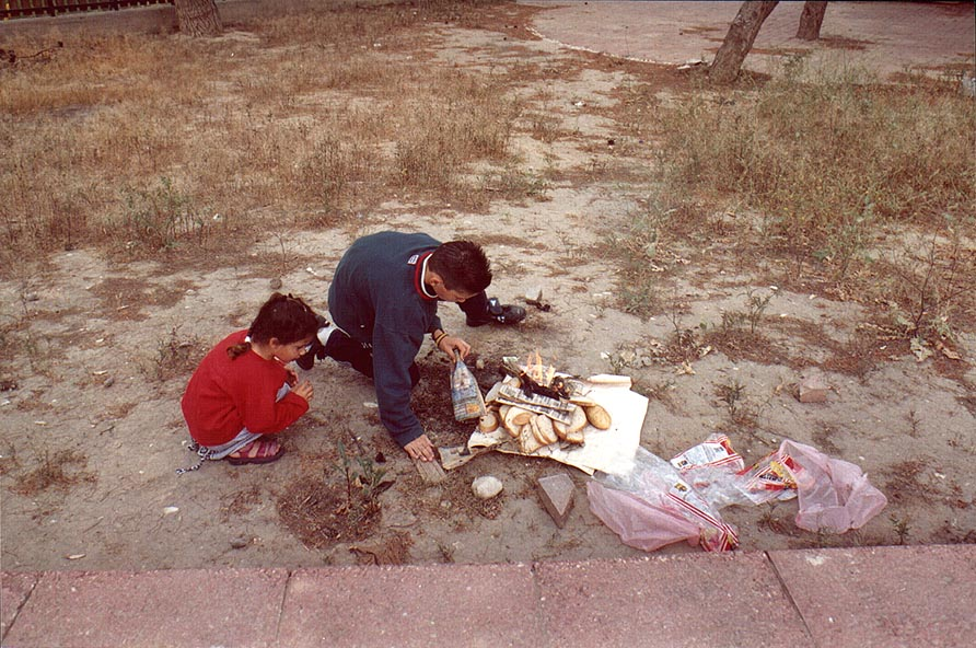 Burning bread near Ben Gurion Blvd. before Jewish...holiday. Beer-Sheva, the Middle East