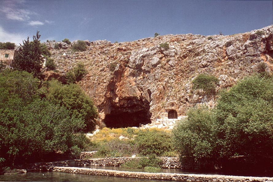 Cave of Pan and springs in Banias Park. Golan Heights, the Middle East