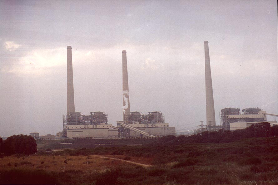 Hadera power plant at evening. The Middle East