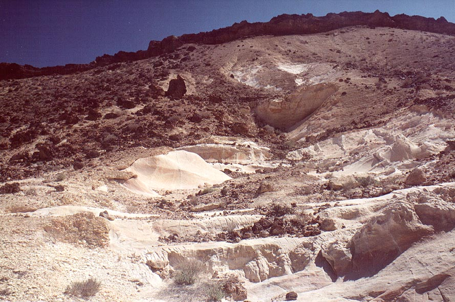 Chalk hills at Nahal Darokh river 4 miles east from Sde Boker. The Middle East
