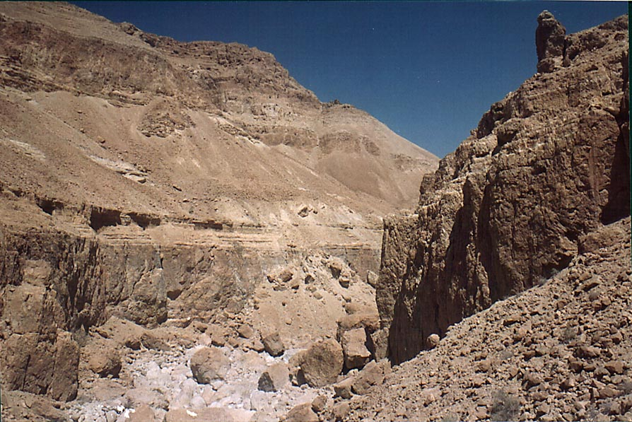 Tseelim Canyon 2.5 miles north from Masada. The Middle East