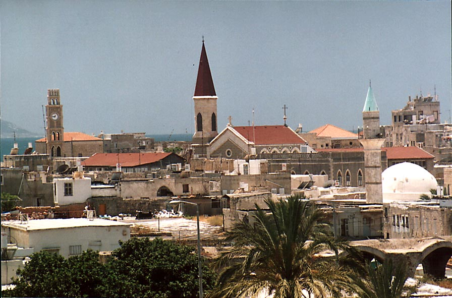 View of Old City of Akko (Acre) from Land Wall Promenade. The Middle East