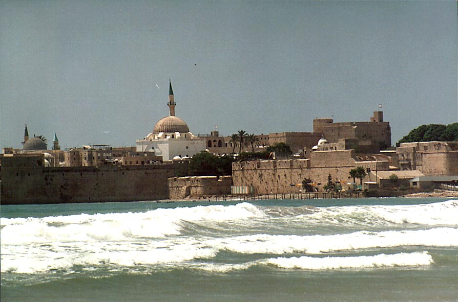 Akko Bay from Wall's Beach east from Old Acre. The Middle East
