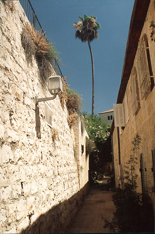 A street in Yemin Moshe St. area near Mishkenot Sha'ananim. Jerusalem, the Middle East