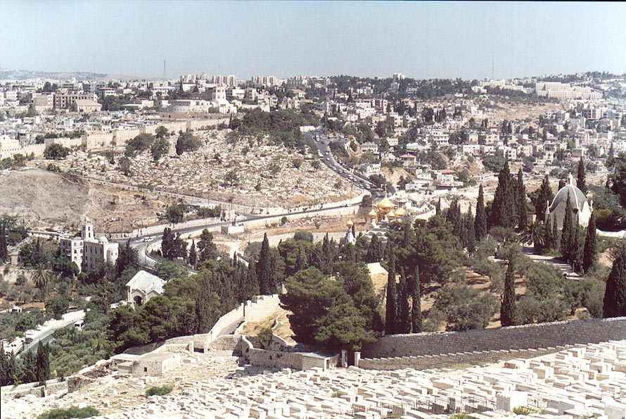 View of Jewish Cemetery, Russian Church of Mary...of Olives. Jerusalem, the Middle East