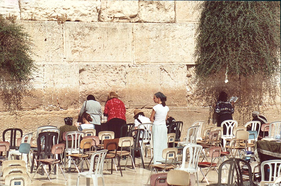 A small section of Western Wall open for women. Jerusalem, the Middle East