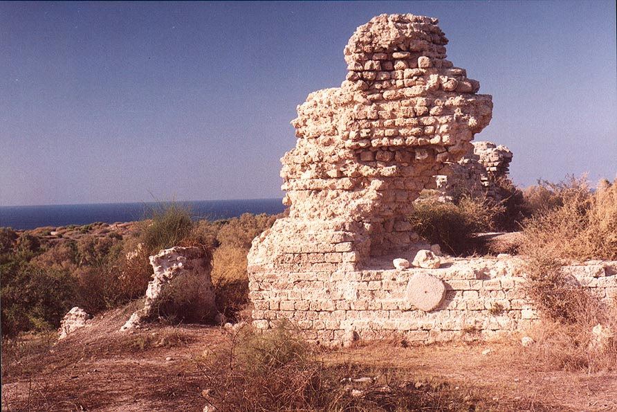 View of remains of Crusader bastion from the...in southern Ashkelon. The Middle East