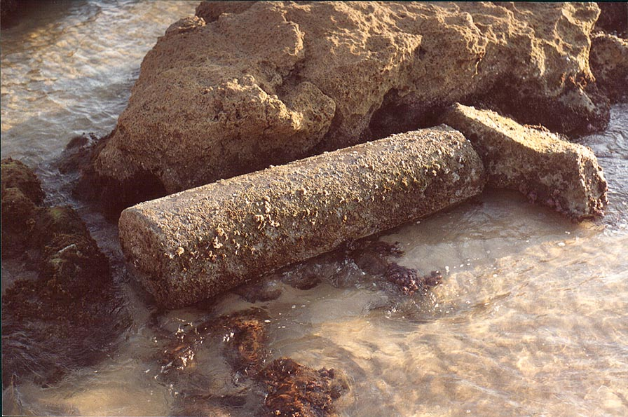 A granite pillar among ruins of ancient harbour...in southern Ashkelon. The Middle East