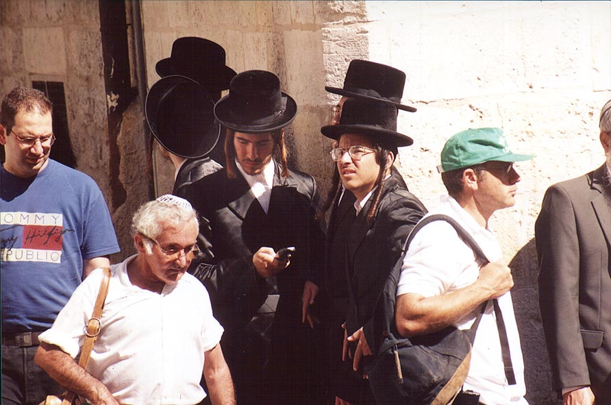 Jews at intersection of El Wad Rd. and Via...Old City. Jerusalem, the Middle East