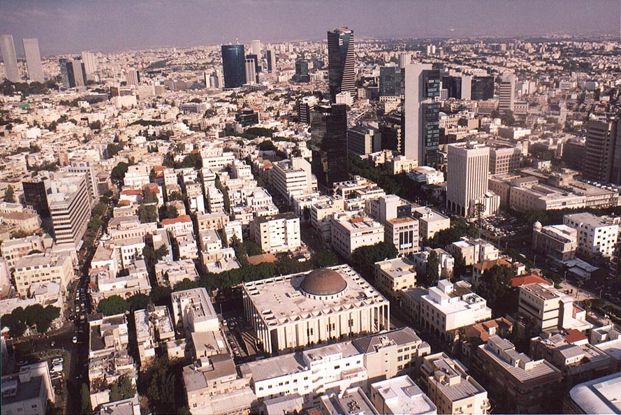 View to the east from Migdal Shalom tower. Great...the center. Tel Aviv, the Middle East