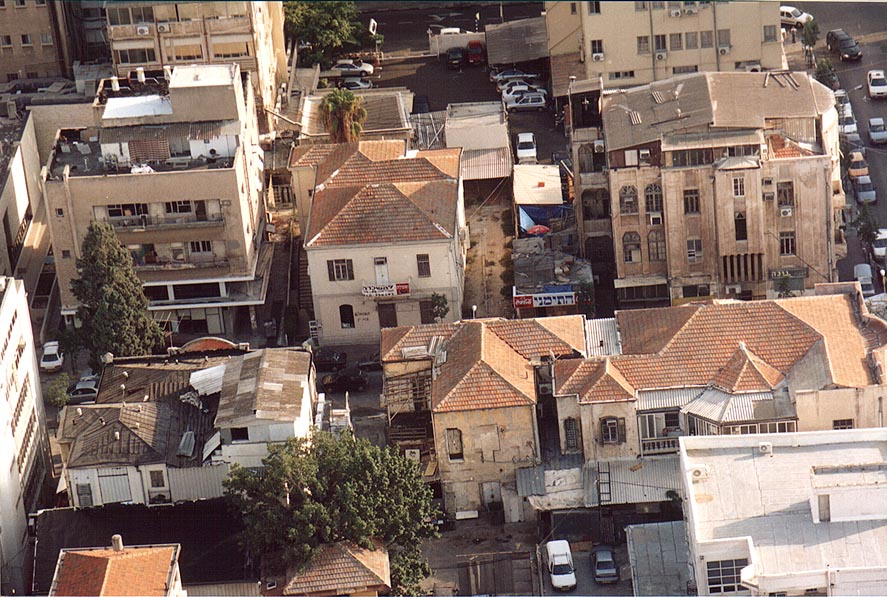 Houses east from Lilienblum M. L. and Herzl St...tower. Tel Aviv, the Middle East