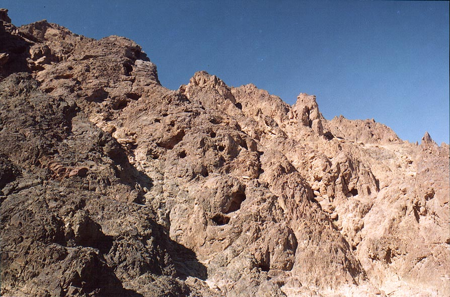 Cliffs along Mapalim Creek, 2.5 miles north-west from Eilat. The Middle East