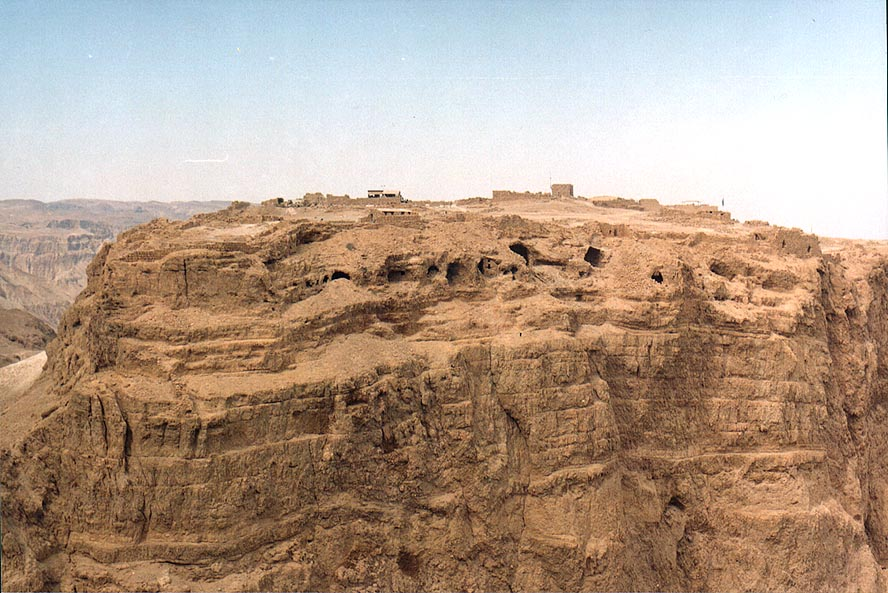 View of Masada hill north from Mount Eliazar, near the Dead Sea. The Middle East