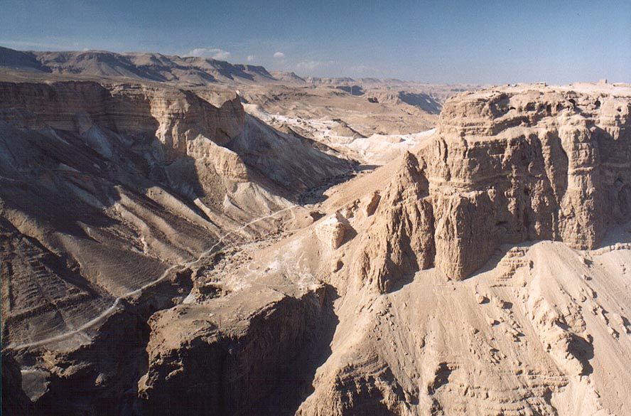 View of a trail west from Masada from Mount Eliazar, near the Dead Sea. The Middle East