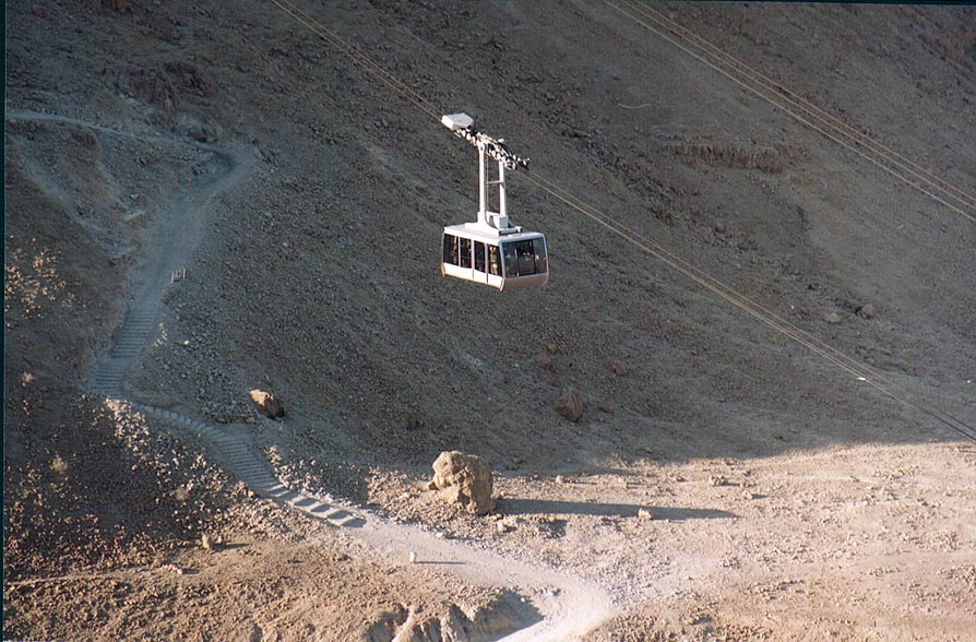 A cable car along the Snake path to Masada hill...near the Dead Sea. The Middle East