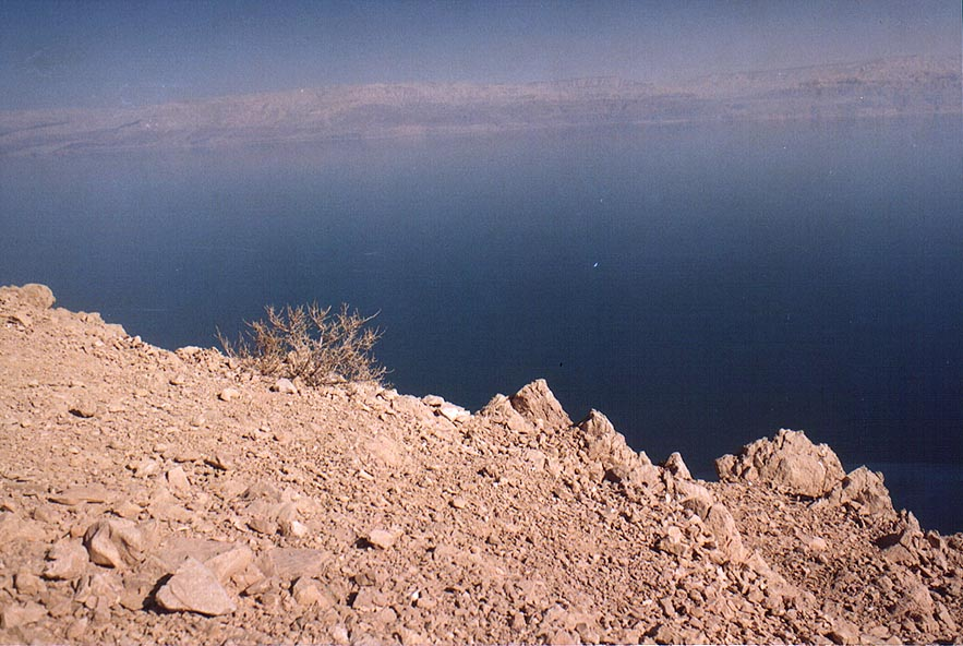 Dead Sea to the west, behind the rim of Mount...above Ein Gedi. The Middle East