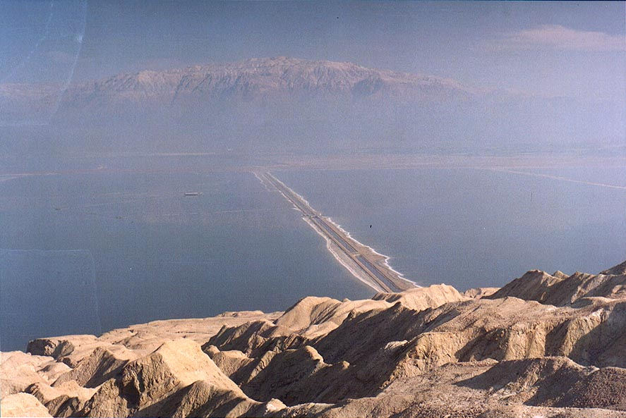 View of Dead Sea and misty Moav Mountains from a...Sdom to the west. The Middle East