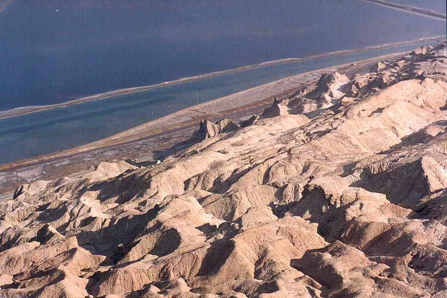 View of Dead Sea from a lookout of Mount Sdom to the south-west. The Middle East
