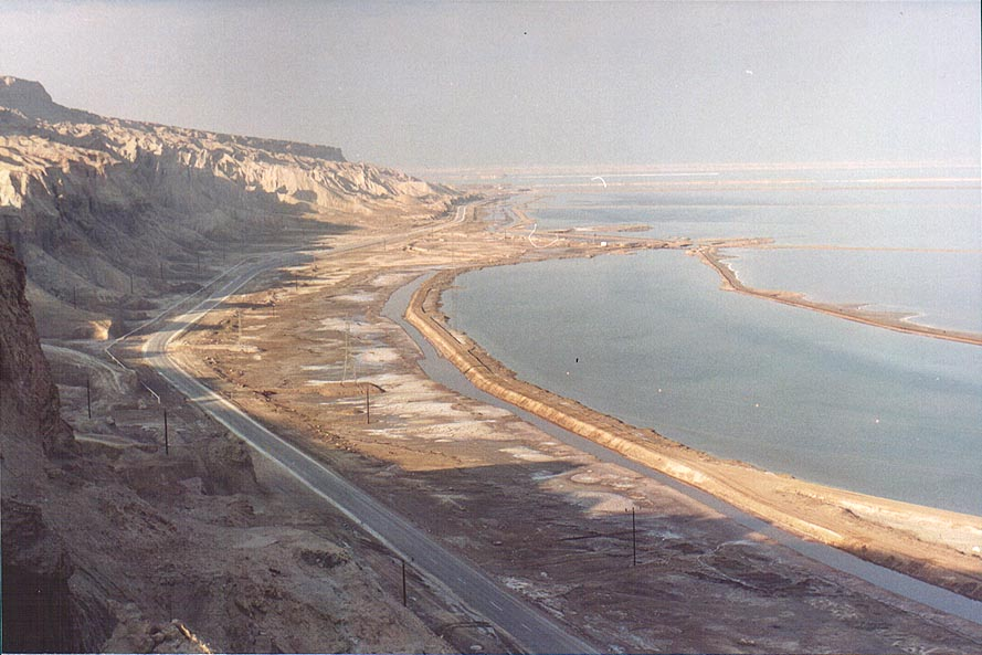 View of Dead Sea from a lookout of Mount Sdom to the north. The Middle East