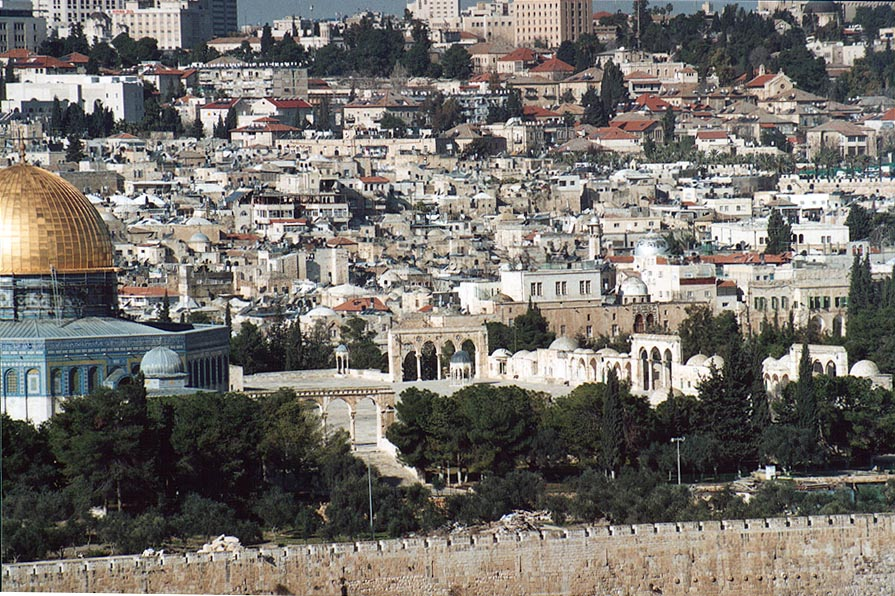 View of the platform of Temple Mount from Mount of Olives. Jerusalem, the Middle East